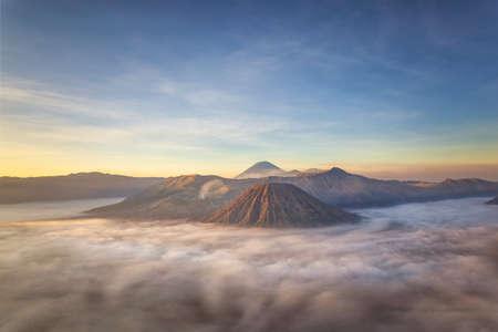 Bromo mountain view and sunrise, fog