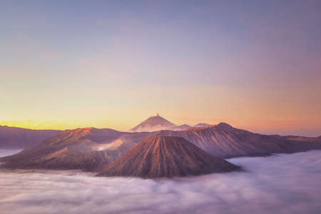 tengger: Sunrise at Mount Bromo volcano, the magnificent view of Mt. Bromo located in Bromo Tengger Semeru National Park, East Java, Indonesia.