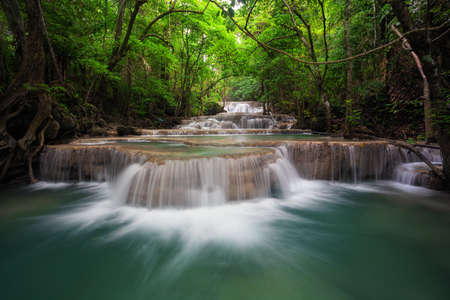 Waterfall in deep natural forest Stock Photo