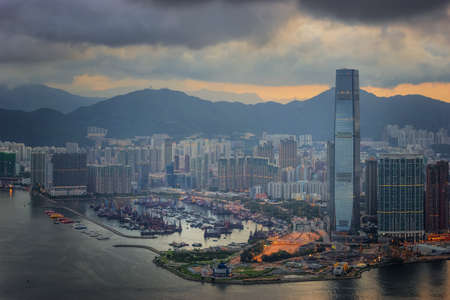 Cityscape in Hong-kong from top of mountain