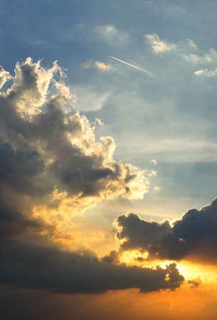 Sunset cloud as close-up Stock Photo