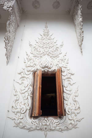 Wooden window in buddhism temple as texture