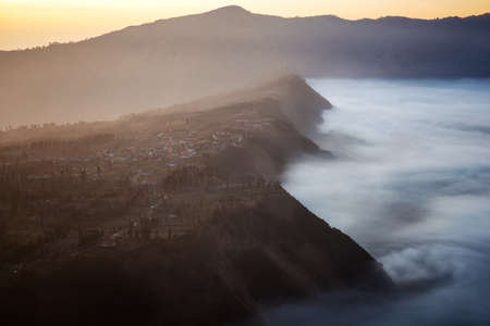 Mountain fog from top view of bromo mountain