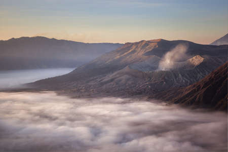 Bromo mountain close-up to the fog