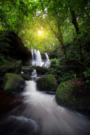 Natural waterfall in deep forest Stock Photo