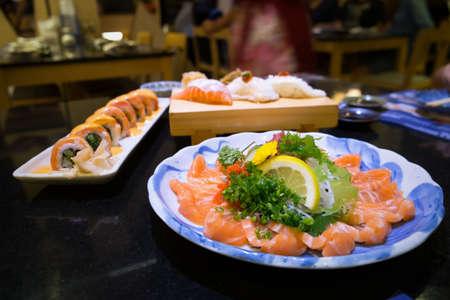 Fresh sushi fish on the dish as japanese food