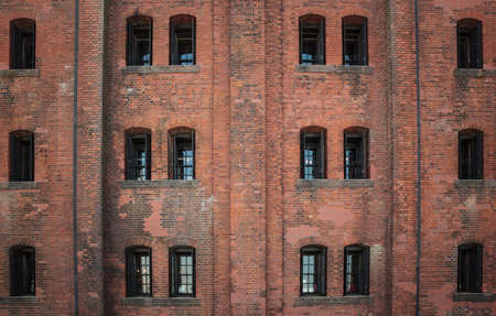 Window on brick wall as texture background