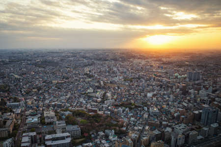 City sunset from top view in center of capital