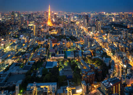 Tokyo skyline - aerial city view with Roppongi and Minato wards.