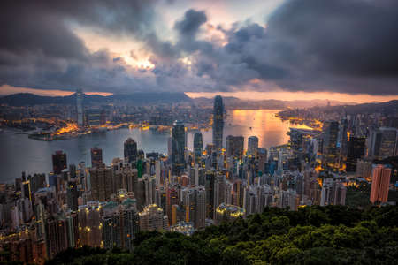 Sunset over Victoria Harbor as viewed atop Victoria Peak
