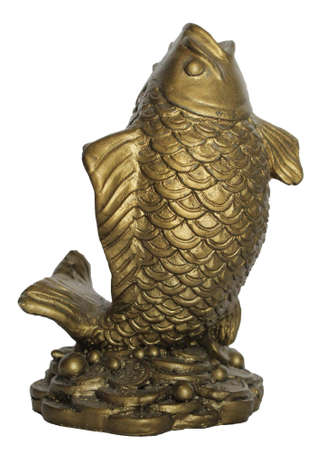 Fish golden statue resin 免版税图像