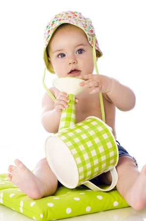 watering can: Sweet baby with watering can