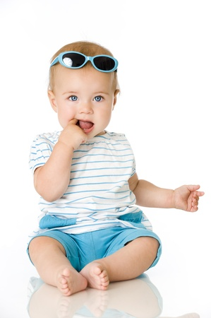 Sweet baby with sunglasses photo