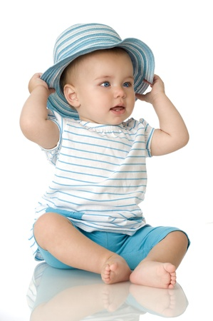 Pretty baby with hat Stock Photo