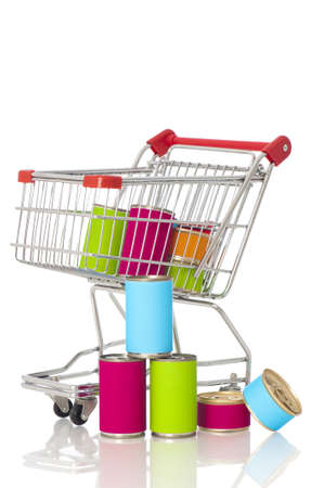 canned goods: Shopping cart with canned goods Stock Photo