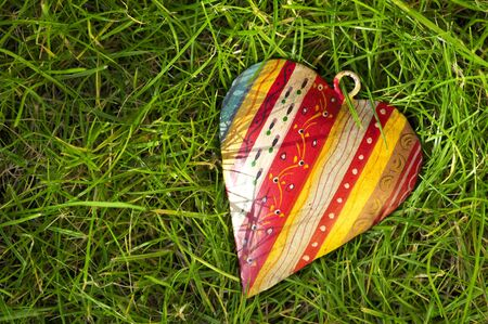 A patterned hearts in the grass photo
