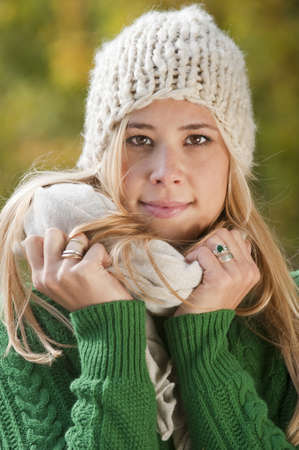hapiness: Young woman in autumn Stock Photo