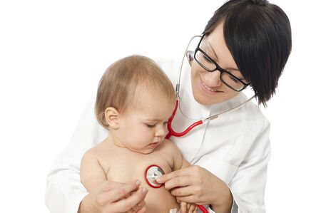 Female doctor with toddler photo