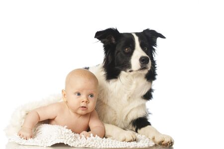 Baby with dog photo