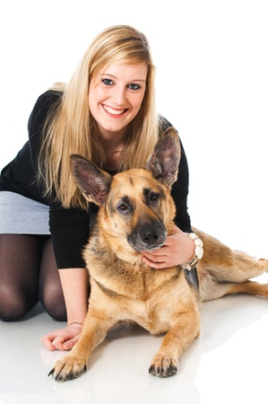 Woman with german shepherd dog photo