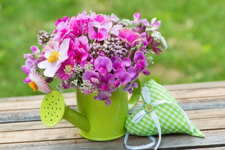daisys: Pink garden flowers in a small watering can Stock Photo
