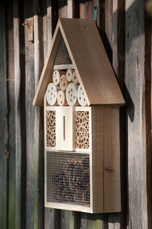 woodshed: Insect hotel on a woodshed Stock Photo