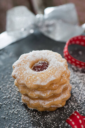 knave: Christmas cookies on a black plate