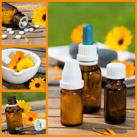 Alternative medicine collage Stock Photo