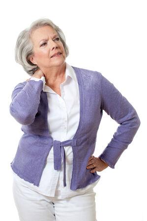 Senior woman has neck pain Stock Photo