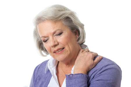 Senior woman has neck pain Standard-Bild