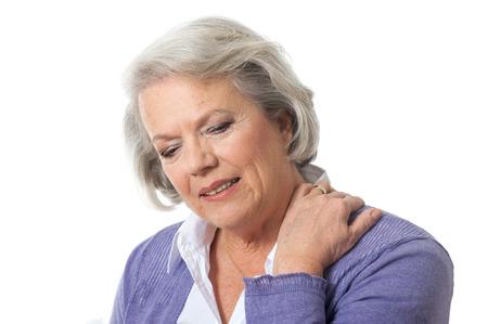 neck: Senior woman has neck pain Stock Photo