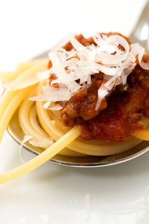 bolognaise: Spaghetti bolognaise on a spoon