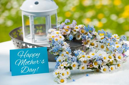Flower heart on a garden table Stock Photo