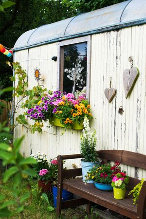 Old wooden shed in a garden Stock Photo