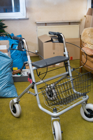 Rollator stands in a room full of garbage