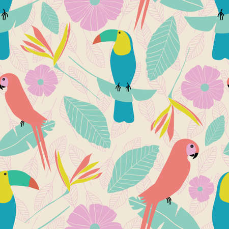 Seamless vector tropical garden pattern with parrots, toucans, leaves, flowers in pink, blue, yellow, green with etched leaf background elements.