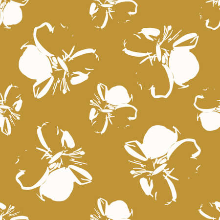 Seamless vector pattern with cream sketched flowers with a gold background.