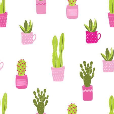 Seamless vector pattern with cute colorful green succulents in pink pots with a white background.