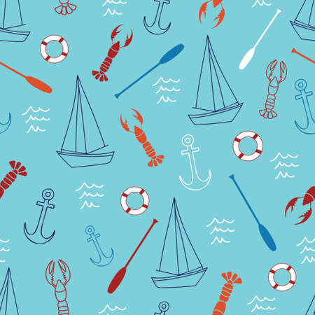 Seamless pattern with sailing related items