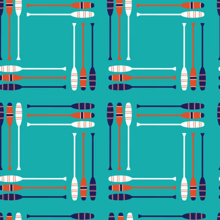 Seamless vector pattern with vintage retro orange, navy, white oars with an aqua background in repeat. Cute Marine Yachet pattern for fabric, background, textile, wrapping paper and decoration designs. Vector illustration.