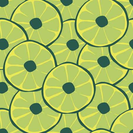 Cute green sliced limes vector repeat seamless pattern. Great for cards, birthday, party, wrapping paper and fabric design.