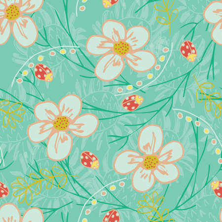 Trendy seamless repeat floral garden pattern with flowers and leaves in green, gold, white, yellow, red colors. Great for textiles, wedding, wallpaper, card, paper, apparel designs.