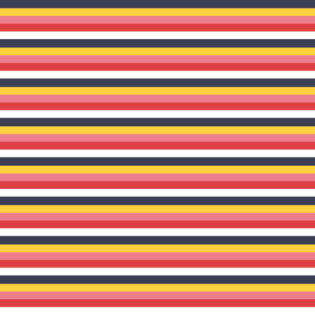 Seamless vector multi stripe pattern with colored horizontal parallel stripes red, white, gold, pink and navy background. Surface pattern design.