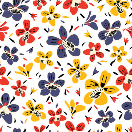 Vector seamless repeat colorful floral pattern with blue, red, and yellow flowers and white background. Great for fabric, card, wallpaper, background designs. Illustration