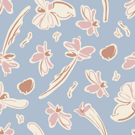 Vintage Flowers and Butterfly Seamless Pattern with Light Blue Background