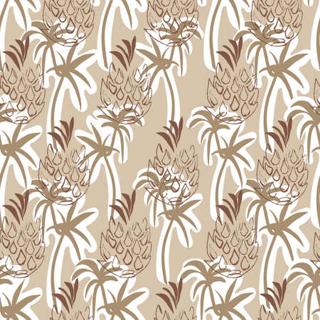 Beige Tropical Pineapple and Palm Seamless Pattern Background