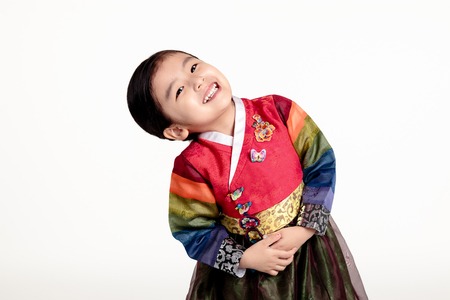 voguish: A studio portrait of an Asian girl in traditional costume of Korea