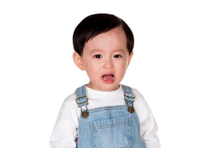 East Asian sad man studio portrait of a young child