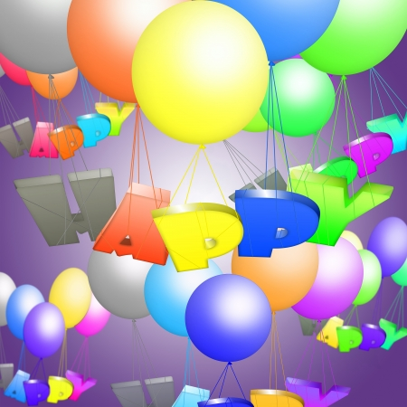 The word happy flying on balloons photo