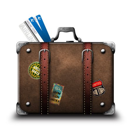 Suitcase and airline tickets photo
